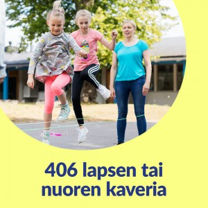 Keltaisella taustalla pyöreä kuvakehys. Kuvassa kaksi tyttöä hyppii twist-narua. Aikuinen on taustalla. Kuvassa lukee 406 lapsen tai nuoren kaveria.