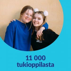 Sinisellä taustalla pyöreä kuvakehys. Kuvassa kaksi hymyilevää tukioppilasta. Kuvassa lukee 11 000 tukioppilasta.