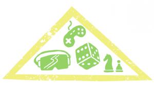 Aikaseikkailu-kerhon leima, jossa erilaisia pelejä.