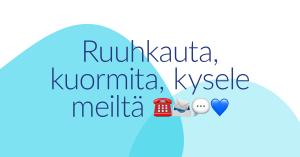 Koronakeväänä 2020 MLL:n Facebookissa julkaistu kuva, jossa on sinisten päällekäisten muotojen päällä teksti: Ruuhkauta, kuormita, kysele meiltä.