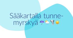Koronakeväänä 2020 MLL:n Facebookissa julkaistu kuva, jossa on sinisten päällekäisten muotojen päällä teksti: Sääkartalla tunnemyrskyä.