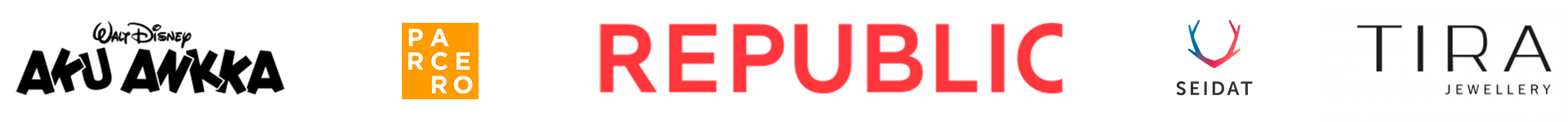 MLL:n 100-juhlavuoden yhteistyökumppaneiden logoja (Aku Ankka, Parcero, Republic, Seidat, TIRA Jewellery).